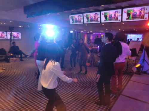 Only a handful stayed after the buffet, karaoke and lucky draw, but they danced! Credit Suisse Xmas party 2015