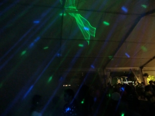 Lasers and mirror ball, projected in air, back wall or ceilings