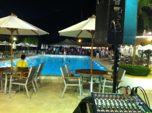 Chilling poolside before the party, HK Cricket Club