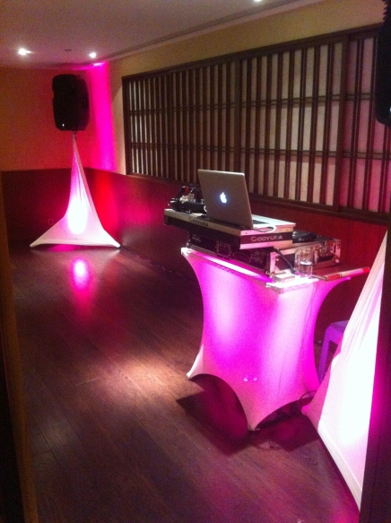 Reception and Mood lighting packages set up at Suzuike Japanese restaurant for New Year 2015