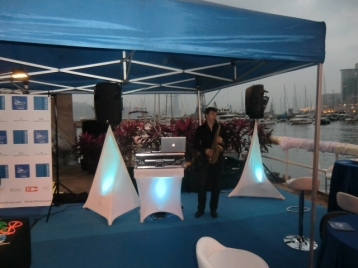 Jamming with live saxophonist at Royal Hong Kong Yacht Club