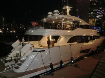WIzard patterns playing across Royal Hong Kong Yacht Club quayside
