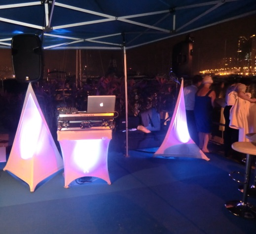 Royal Hong Kong Yacht Club quayside reception with mood lighting package