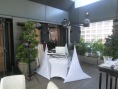 Party package equipment set up with aerial club effect lighting at The Patio, Peninsula Hotel