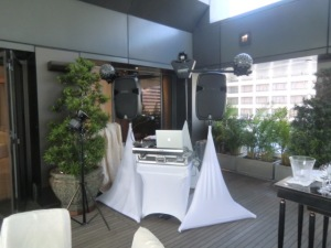 Party package equipment set up and aerial club effect lighting