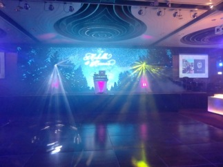 DJ package with Club Lighting package, set up and ready to roll for a wedding after party at The Intercontinental Hotel